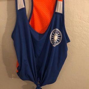 Blue and Orange SoulCycle Crop Top